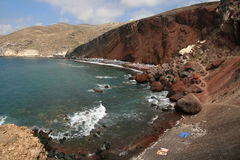 Красный пляж Стоковые Изображения
