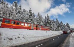 Красный поезд, Швейцария II стоковые фотографии rf