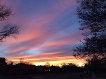 Красный померанцовый заход солнца Стоковые Изображения