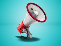 Красный портативный громкоговоритель с белой правильной стороной 3d вставок представить на голубой предпосылке с тенью бесплатная иллюстрация