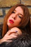 Красный портрет девушки волос Стоковые Фотографии RF
