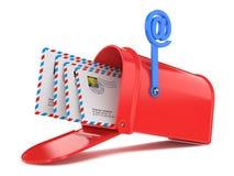 Красный почтовый ящик с почтами иллюстрация вектора