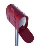 Красный почтовый ящик с почтами Стоковая Фотография