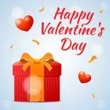 Красный подарок на день валентинки, счастливая надпись дня валентинки для дизайна Стоковые Изображения RF
