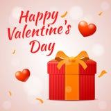 Красный подарок на день валентинки, счастливая надпись дня валентинки Стоковое фото RF