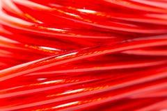 Красный провод как фон Макрос Стоковые Фото