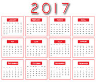 Красный простой 2017 календарь - дизайн календаря 2017 Стоковые Изображения RF