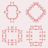 Красный простой комплект рамки дизайна вензеля Стоковая Фотография RF