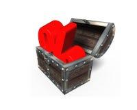 Красный процент подписывает внутри сундук с сокровищами, перевод 3D Стоковое Изображение RF
