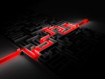 Красный путь через лабиринт Иллюстрация штока