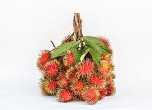 Красный плодоовощ рамбутана на белой предпосылке стоковые фотографии rf