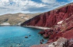 Красный пляж в Santorini Стоковые Фото