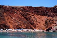Красный пляж острова Santorini, Греции Стоковые Фото