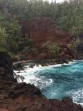 Красный пляж песка в Гане Гавайских островах Стоковая Фотография