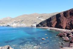 Красный пляж, Santorini Стоковое Фото