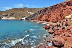 Красный пляж, Santorini Стоковая Фотография RF
