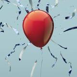 Красный реалистический воздушный шар с серпентином на светлом - голубая предпосылка перевод 3d иллюстрация штока