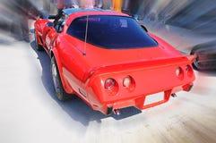 Красный ретро винтажный автомобиль Стоковые Изображения