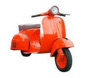 Красный ретро мотоцикл изолированный на белизне Стоковая Фотография