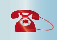 красный ретро телефон Иллюстрация вектора