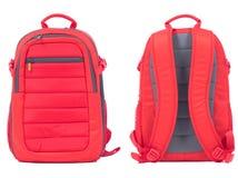 Красный рюкзак школы на белой предпосылке Стоковое Изображение
