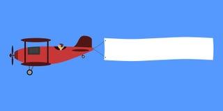 Красный самолет-биплан с плакатом иллюстрация штока