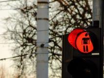 Красный светофор для пешеходного перехода Стоковая Фотография