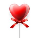 Красный сердц-lollipop изолированный на белизне Стоковая Фотография RF