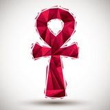 Красный символ ankh, египетское слово на всю жизнь, геометрический значок сделанный в 3 Стоковое Фото