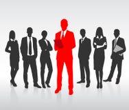 Красный силуэт бизнесмена, черные бизнесмены иллюстрация штока