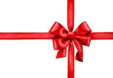 Красный смычок подарка сатинировки Стоковые Изображения RF
