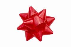 Красный смычок праздничного подарка сверху Стоковая Фотография