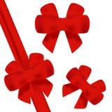 Красный смычок с красным вектором ленты Комплект вектора смычков Смычок подарка красный стоковая фотография rf