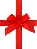 Красный смычок тесемки изолированный на белой предпосылке концепция карточки подарка Стоковая Фотография RF