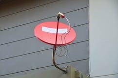 Красный спутник телевидения Стоковая Фотография