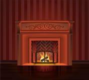 Красный старый камин Стоковые Фото