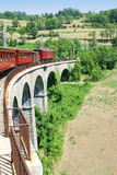 Красный старый электрический поезд Стоковые Изображения