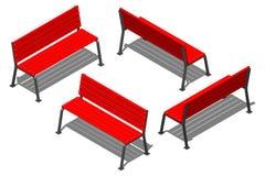 Красный стенд улицы сделанный из деревянных предкрылков на поддержках металла, vector равновеликая картина на белой предпосылке Стоковая Фотография