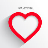 Красный стикер бумаги сердца с открыткой иллюстрации тени Стоковая Фотография RF