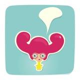 Красный стикер девушки волос Иллюстрация вектора