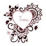 Красный стиль zentangle влюбленности для книжка-раскраски иллюстрация штока