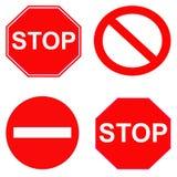 Красный стоп и запрещенные знаки Стоковая Фотография RF