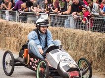Красный сфокусированный гонщик импровизированной трибуны Bull Стоковое фото RF