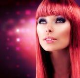 Красный с волосами модельный портрет Стоковые Фото