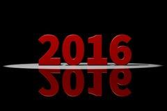 2016, красный текст, перевод 3D с отражением Стоковое Изображение RF