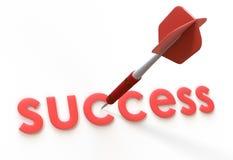 Красный текст стрелки и успеха Стоковое Изображение