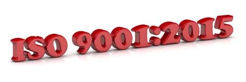 Красный текст - 9001:2015 ISO иллюстрация вектора