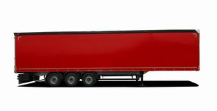 Красный тележки трейлер semi Стоковые Фотографии RF
