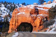 Красный тоннель дороги свода Стоковые Фотографии RF