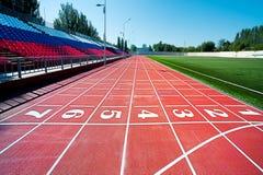 Красный третбан на стадионе Стоковая Фотография RF